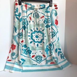 NWT Loft floral pleated flat front skirt 6